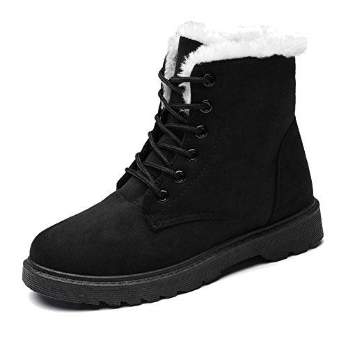 donne martin short boots scarpe in pelle scamosciata heel piana più calda peluche calzature casual scarpe in cotone black