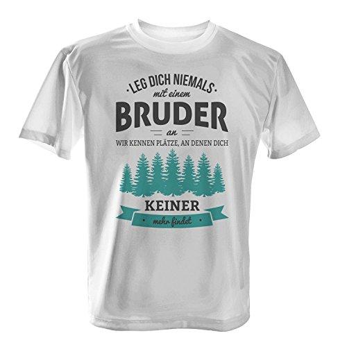 Fashionalarm Herren T-Shirt - Leg dich niemals mit einem Bruder an | Fun Shirt mit Spruch als Geburtstag Geschenk Idee für Geschwister Weiß