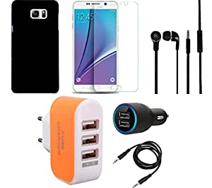 NIROSHA Tempered Glass Screen Guard Cover Case Car Charger Headphone Charger for Samsung Galaxy Note 5 - Combo