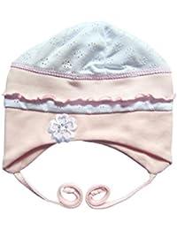 Gorro de Bebé para Recién Nacido niña con volantes en color blanco y rosa 7f2c52d25e0