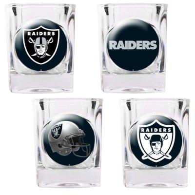 Great American NFL Oakland Raiders Vier Stück Quadratisch Schnapsglas Set (Individuelle Logos)