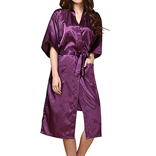 UTOVME Damen Kleidung Seide Kimono Flach Robe Lange Nachtwäsche ...