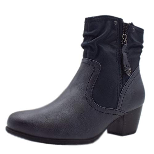 5924a3490ff2 Jana Soft Line 25370 Campbell Stylish Wide Fit Smart Boot in Navy Mix 37  Navy Mix
