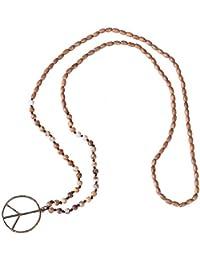 KELITCH Vaso Cristal Abalorios Cadena Liberal Paz Firmar Colgante Collar