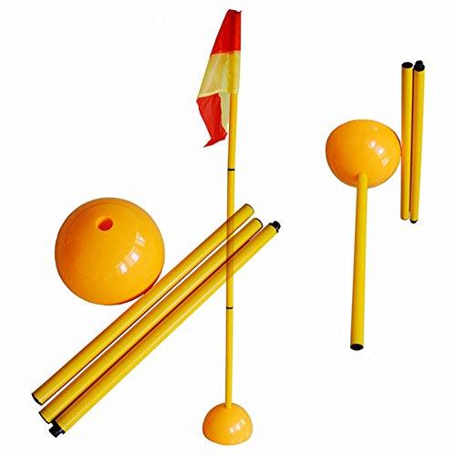 Boden-post (Fußball Ecke Fahnenstange Abnehmbare Fußball Ecke Pole & Flagge Post Set ABS Boden 1,5m 3Pole + Wasser spritzgegossener Boden + Flagge)
