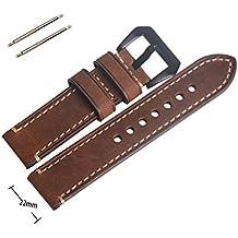 22mm vintage piel auténtica Repuesto Marrón Correa de Reloj de banda con Negro Hebilla