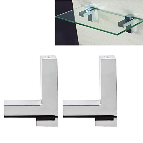 Verstellbare Holz/Glas Regalbodenträger, Tiberham 2 Stück Zinklegierung Poliertes Chrom Glas Bodenträger Regalbodenhalter Regalhalterung für 3-30mm Stärke Regale, Wandmontage Glashalterung Holzhalter -