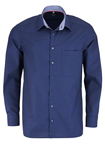 Eterna Long Sleeve Shirt Comfort Fit Chambray Uni Blu marino