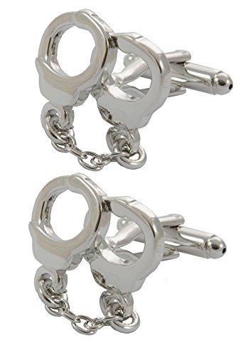 COLLAR AND CUFFS LONDON - Hochwertige Manschettenknöpfe mit Geschenk Box - Handschellen und Kette - Stilvolle Messing - Silber Farbe - Kriminalität Polizei Sicherheitsbeamter