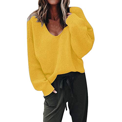 idung Pullover Damen Winter Damenmode Herbst Tiefem V Ausschnitt Langarm Solid Color Bluse Plus Frauen Multicolor Strickpullover Cardigan Langshirt (Gelb, M) ()