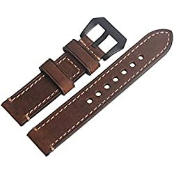 WEONE Brown Vintage Genuine Leather Watch Band Wristwatch Strap Watchband with Black Buckle