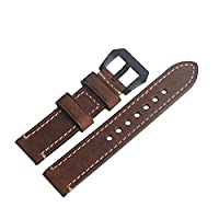 WEONE 20mm Brown Vintage Genuine Leather Watch Band Wristwatch Strap Watchband with Black Buckle