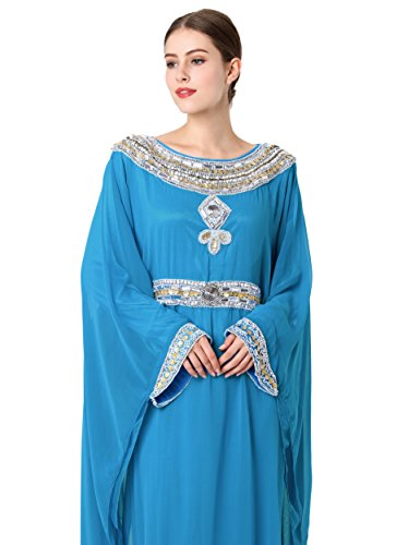 Islamische Kleidung Stickerei Frauen jalabiya moslemisches abaya lange dubai Kleid LF-14 Blau