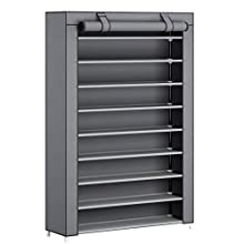 SONGMICS 10-Tier Shoes Rack with Dustproof Cover, Shoe Storage Cabinet, Shoe Organizer, Hold up to 45 Pairs of Shoes, in Living Room, Hallway, 100 x 28 x 162 cm, Grey RXJ00GY