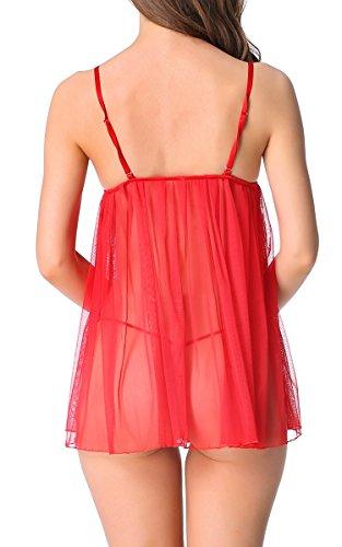ZEARO Femme Sexy Lingerie en Dentelle Robe Transparente Nuisettes Fine Vêtement de Nuit Décoré aux Seins+G-string Rouge