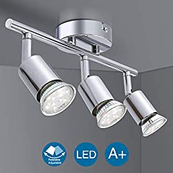 Ceiling Light Fitting, Elfeland 3 Way Pendant Light Ceiling Spotlight Rotatable Swiveling Lamp 3X GU10 Light Bases Angle Adjustable Indoor Lighting for Living Room and Bathroom (Without Light Source)
