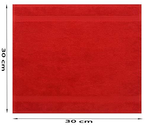 BETZ Serviette débarbouillette Lavette Taille 30 x 30 cm 100% Coton Premium Couleur Rouge