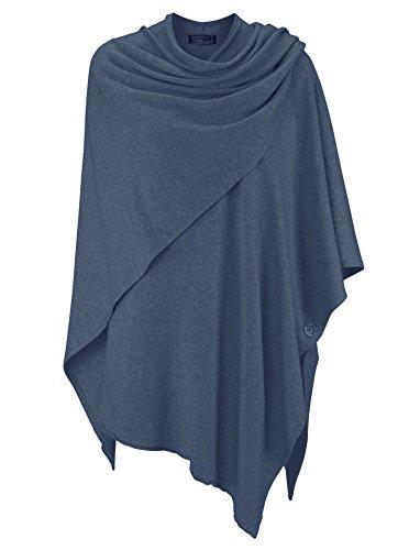 Zwillingsherz Poncho-Schal mit Sommer Kaschmir – mit kuschel Garn - Hochwertiges Cape für Damen - XXL Umhängetuch und Tunika mit Ärmel - Strick-Pullover - Sweatshirt - Stola (jeans)
