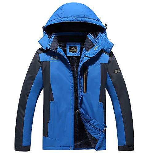 VADOO Herren Parka Jacke Casual Männer Jacken Mäntel Winter Wasserdicht Fleece-Mantel mit Kapuze (XL-9XL) Bugaboo Winter Parka