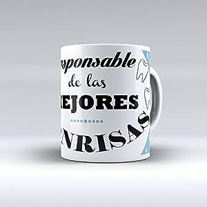 """dentistas: Taza cerámica desayuno regalo original profesión dentista """"Responsable de las me..."""