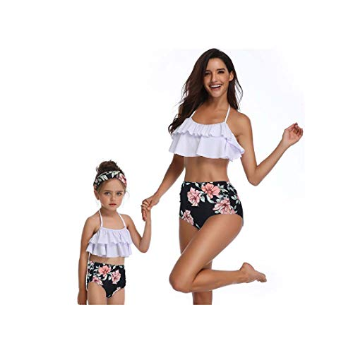 Junior Girls-pleated Shorts (ASILAX& High Waist Bikini Swimsuit Mom and Daughter Swimsuit Swimwear Women Children Baby Kids Beach Matching Family Bathing Suits Gray Mom S)