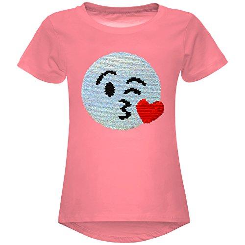 BEZLIT Mädchen Wende Pailetten Stretch T-Shirt Smile-Motiv 22606, Farbe:Dunkelrosa, - Teenager Günstige T-shirts