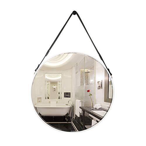 PIGE Runder Badezimmer-Wand-Berg-Spiegel, nordischer minimalistischer kreativer Make-upspiegel - Rahmen PU-Polyurethan wasserdicht und feuchtigkeitsfest - 60x60cm (Farbe : Weiß) -