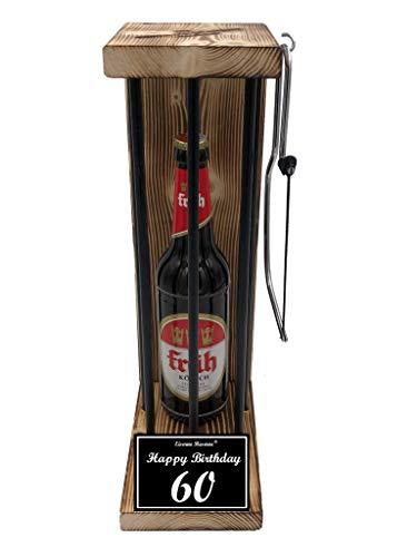 (* Happy Birthday 60 Geburtstag - Die Eiserne Reserve ® Black Edition mit Früh Kölsch 0,50L incl. Säge zum zersägen der Stäbe - Die ausgefallene lustige witzige Geschenkidee - Biergeschenk)