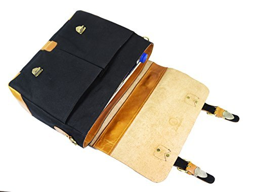 ea4eca743d66 Handmade Leather Canvas Vintage Crossbody Messenger Bag ...