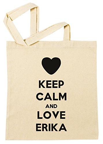 Keep Calm and Love Erika Einkaufstasche Wiederverwendbar Strand Baumwoll Shopping Bag Beach Reusable