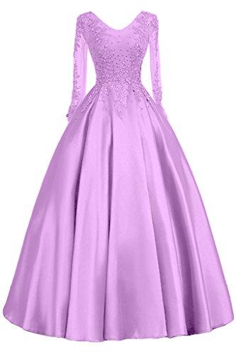 Promgirl House Damen Hochwertig Satin Prinzessin Abendkleider Ballkleider Hochzeitskleider Lang mit Aermel Spitze Helllila