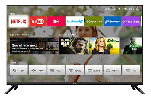 CHiQ Smart 4K TV U50E6000, 50 Pouces (127cm) Ultra Haute Définition, 3840x2160, Netflix, Youtube, Facebook, Twitter, HDMI, WiFi,USB