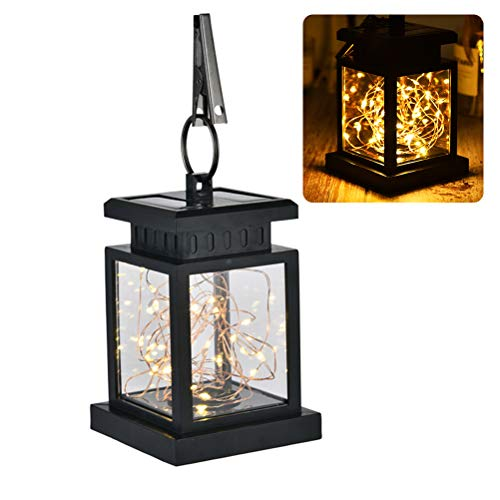 Weesey Solar Laterne Lichter Outdoor LED Solar Tischlampe Hängelaterne mit Clip für Gartenterrasse Landschaft Dekoration -