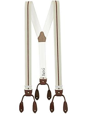 Hochwertige Hosenträger von Xeira® in Vintage Gestreiften Design mit Vintage Lederriemen