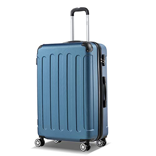 Flexot 2045 Koffer - Farbe Blau Größe XL Hartschalen-Koffer Trolley Rollkoffer Reisekoffer 4 Rollen