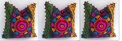 Taie d'oreiller 16 x 16 décoratifs, indien, coussins, Pom Pom Coton Taies d'oreiller, housses de coussin d'extérieur, Throw couvertures d'oreiller