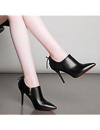 YMFIE Scarpe col tacco a spillo con tacco a spillo ribattini a punta cava moda donna, 39 EU, nero