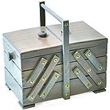 Aumueller - Scatola da cucito, in legno di pioppo, dimensioni: 30 x 18 x 26 cm, colore: grigio antico
