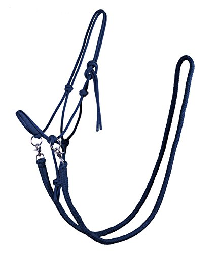 Knotenhalfter mit Zügel Halfter Reithalfter Arbeitshalfter QHP 7 Farben und 4 Größen (full, blau)