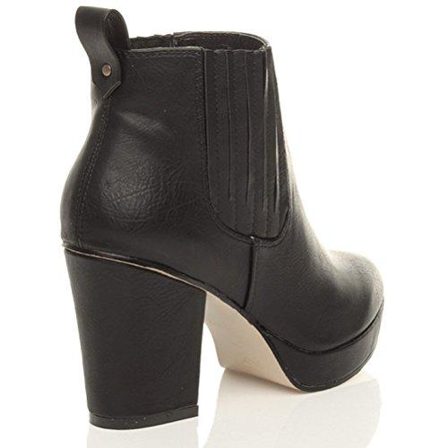 Damen Hoher Blockabsatz Plateausohle Stiefeletten Chelsea Reitstiefel Größe Matt-schwarz mit Streifen Zwickel