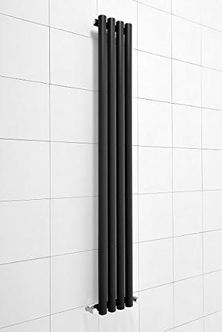 Radiateur eau chaude design vertical Harstad 495W - 1600 x 225 - Noir - Chauffage central - Maison