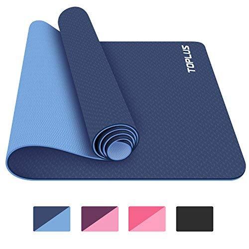 Toplus Yoga Matte, 1/10,2 cm Pro Yogamatte TPE Umweltfreundlich Rutschfeste Fitness Gymnastikmatte mit, der Strap-Workout Matte für Yoga, Pilates und Boden Exercises-Blue