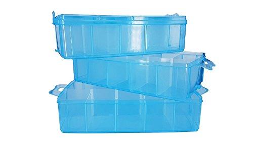 Papimax minifigure vitrine 3 stapelbarer Kasten klares Blau (Klare Kunststoff-vitrine)