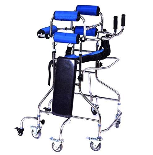 LHY-Rollator Gehhilfe mit Rädern Klapphöhe Breite Einstellbar mit doppelter Unterarmstütze und Bremsfunktion 8-Runden-Gehhilfe für Erwachsene