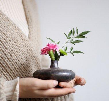 JLCP Grueso Cerámica Antigua Horno De Piedra Textura Mini Pequeña Flor Florero Estilo Japonés Estera De Té Decoración