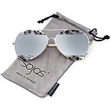 Sojos Métal Cadre Miroir Double Couleur Lunettes de soleil aviateur pour hommes et femmes SJ1032