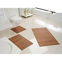 Hygienische, Nachhaltige Und Rutschfeste Badematte Aus Bambus Im 3 Er Set,  Farbe: