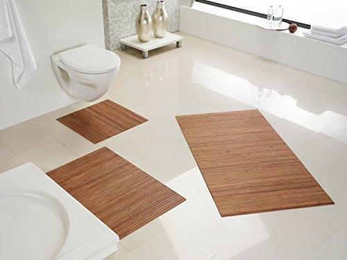 Hygienische, nachhaltige und Rutschfeste Badematte aus Bambus im 3-er Set, Farbe: Nature von DE-Commerce I Fussmatte Badteppich Bambusmatte Duschmatte Badezimmermatte Bamboo Badematte Badvorleger