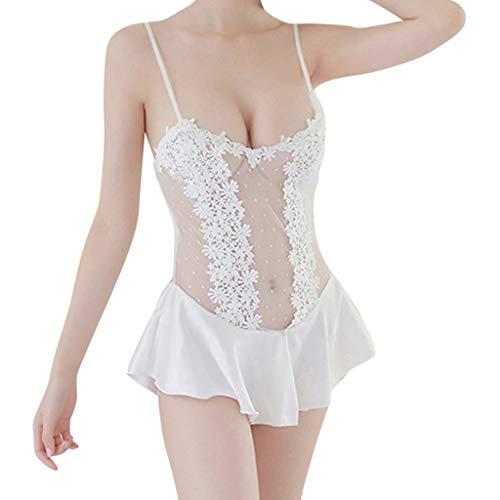 Womteam Frauen Polka Dot Openwork Kleid Sexy Mesh Spitze Unterwäsche Dessous Nachtwäsche Babydoll Nachtwäsche(Weiß,L) (Polka Dot Bh & Tanga Kostüm)
