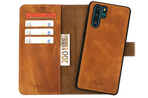 Antic Case 2in1 Wallet Folio Echtleder für Huawei P30 Pro Bookcover RFID-Blocker Wallet Folio Case Leder I in Braun... Folio Wallet Leather Case